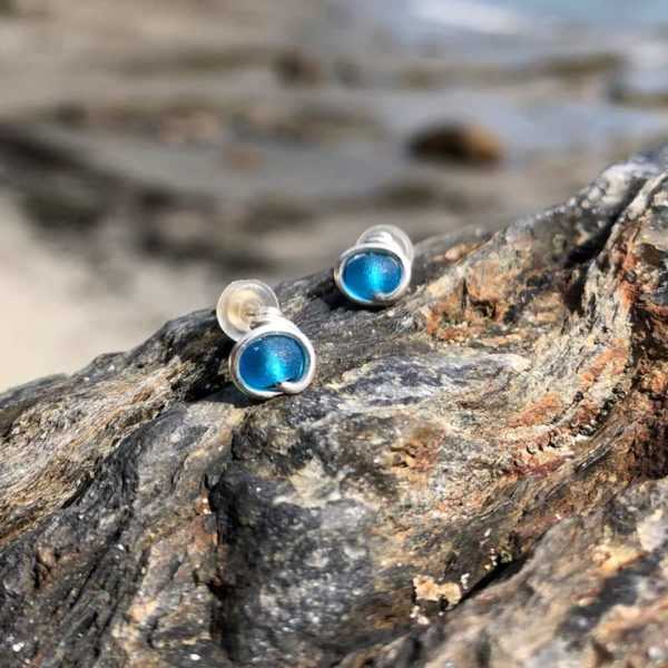 "Aqua ""Sea Glass"" Stud Earrings"