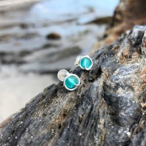 "Teal ""Sea Glass"" Stud Earrings"