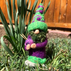 Purple & Green Home Gnome with Green Beard and Knitting