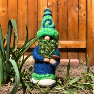 Green & Blue Home Gnome with Green Beard and acorn cap