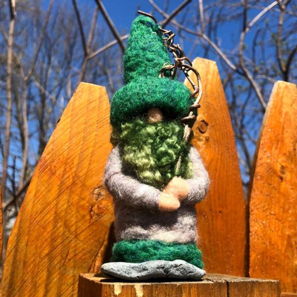 Green & Grey Home Gnome with Green Beard and sticks