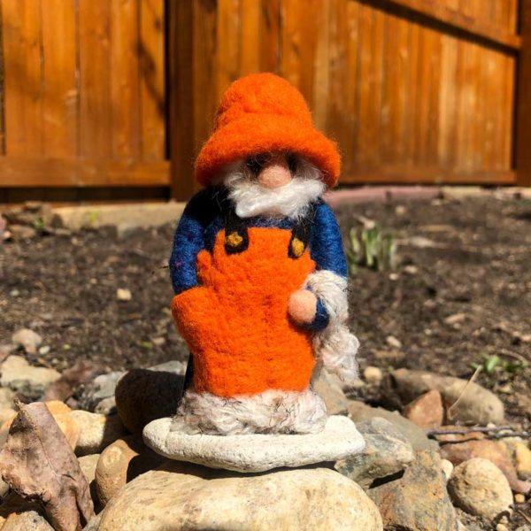 Felted Fisherman dressed in Orange Overalls & Blue shirt