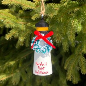 Wooden Marshall Point Lighthouse Ornament