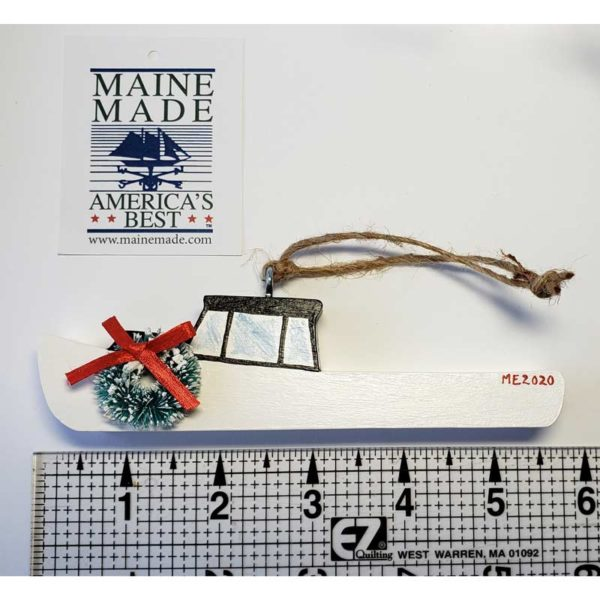 Wooden Lobster Boat Ornament - White with Wreath