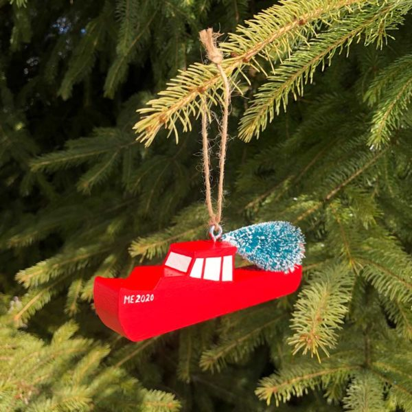 Wooden Lobster Boat Ornament - Red with Tree