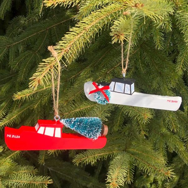 Wooden Lobster Boat Ornaments