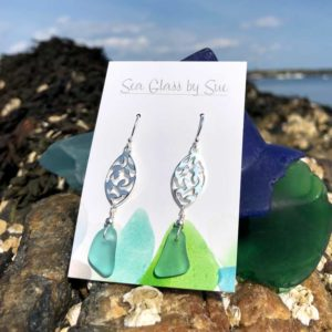 Silver Filigree Sea Foam Sea Glass Drop Earrings