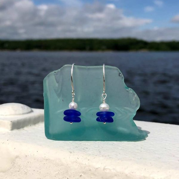 Cobalt Blue Stacked Sea Glass with Pearl Earrings