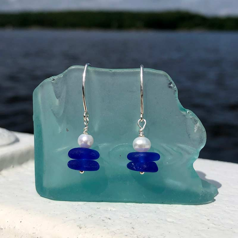 Sea Glass Pearl Earrings