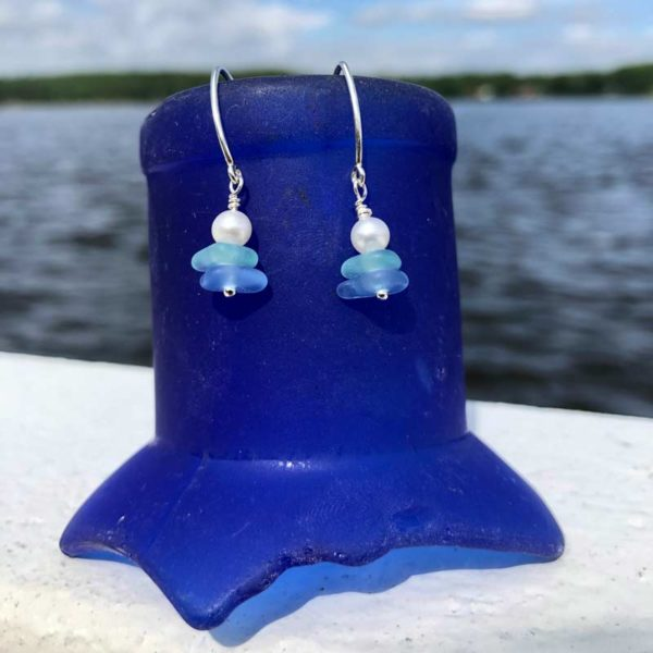 Light Blue & Sea Foam Stacked Sea Glass with Pearl Earrings
