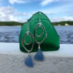 Double Abstract Sea Glass Drop Earrings
