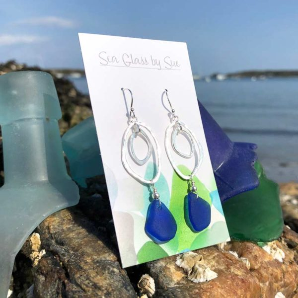 Double Abstract Cobalt Blue Sea Glass Drop Earrings