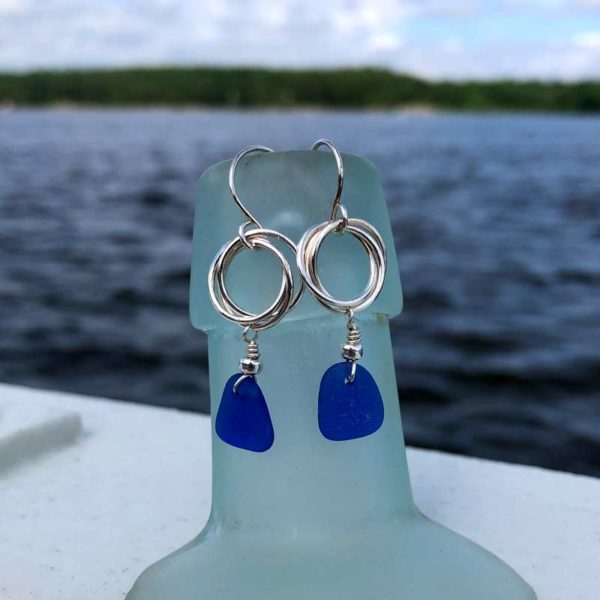 Love Knot Sea Glass Earrings