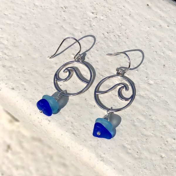 Stacked Sea Glass Wave Earrings