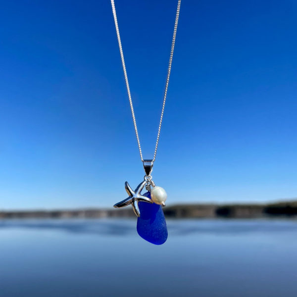 Cobalt Blue Sea Glass with Starfish & Pearl Necklace
