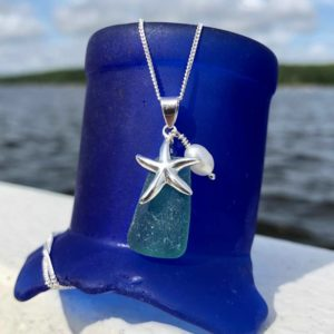 Teal Sea Glass with Starfish & Pearl Necklace