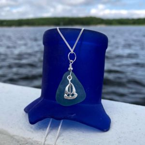 Teal Sea Glass with Sailboat Charm Necklace