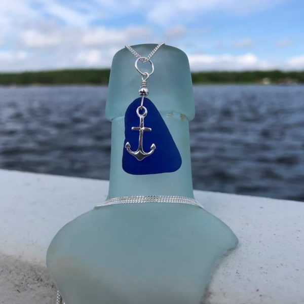 Cobalt Blue Sea Glass with Anchor Charm Necklace