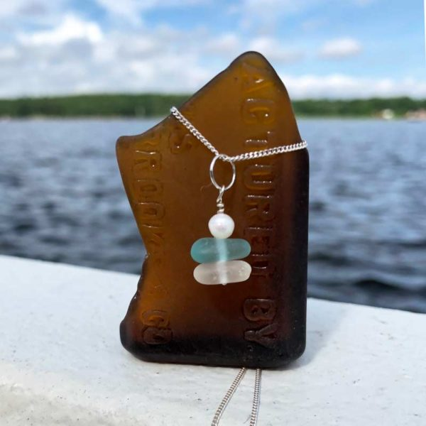 Teal & White Stacked Sea Glass necklace with pearl