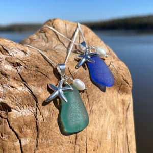 Sea Glass with Starfish & Pearl Necklace