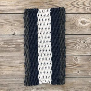 Black, White & Navy Lobster Rope Doormat