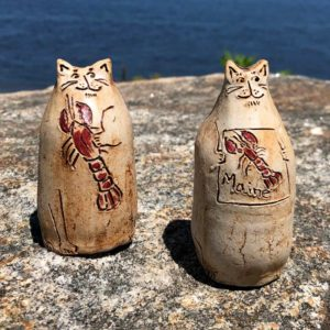 Cat Bud Vase by Westport Island Pottery