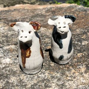 Cow Bud Vase by Westport Island Pottery