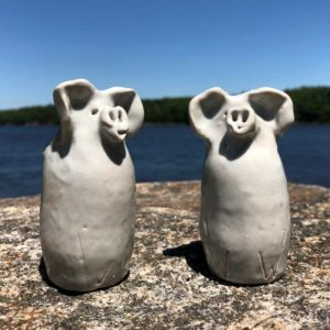 Piggy Bud Vase by Westport Island Pottery