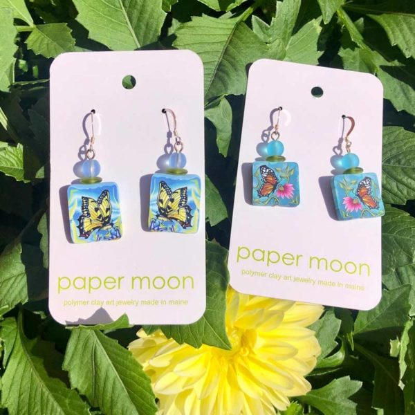 Paper Moon Jewelry made from Polymer Clay - Butterfly Earrings