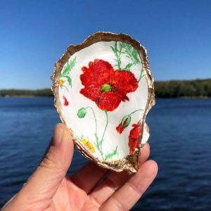 Red Poppy Oyster Shell Ring Dish