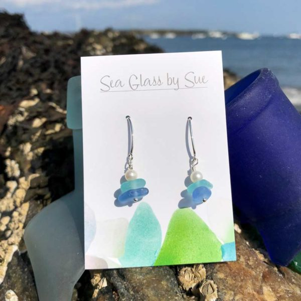Light Teal & Light Blue Stacked Sea Glass with Pearl Earrings