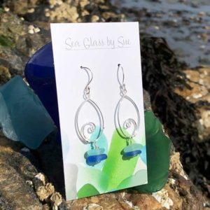 Curly Swirl Stacked Sea Glass Earrings