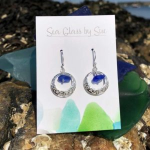 Filigree Circle Sea Glass Earrings