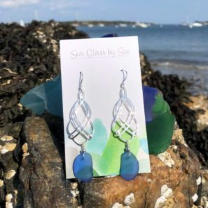Double Twist Sea Glass Earrings