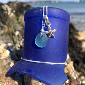 Sea Foam Sea Glass with Tiny Starfish Necklace