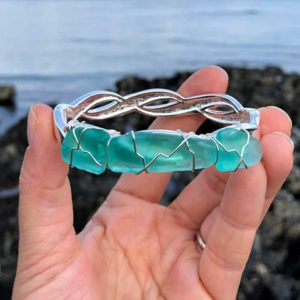 Light Teal Sea Glass Bracelet