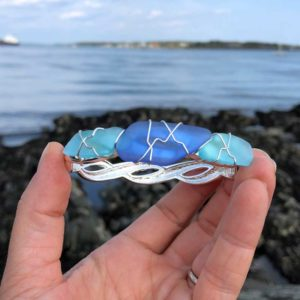 Light Teal & Light Blue Sea Glass Bracelet