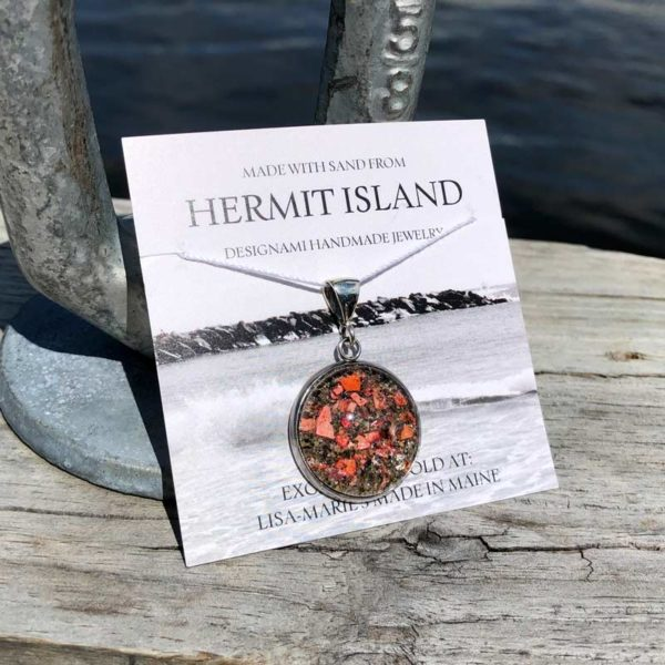 Large Hermit Island Beach Sand Pendant with Crushed Lobster Shell