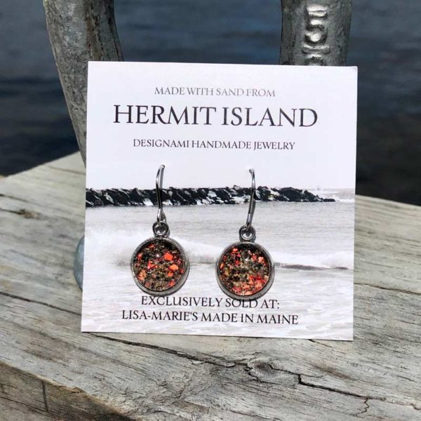 Hermit Island Beach Sand Earrings with Crushed Lobster Shell