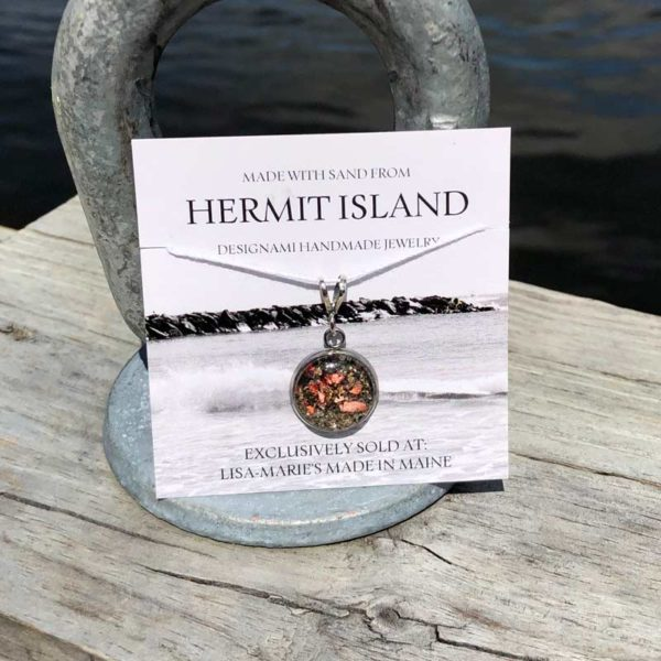 Small Hermit Island Beach Sand Pendant with Crushed Lobster Shell