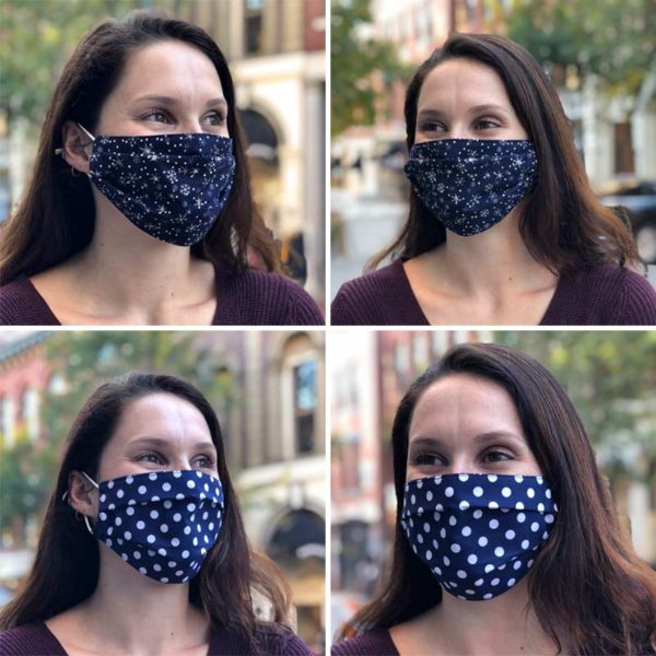White Snowflakes on Navy Reversible Pleated Mask