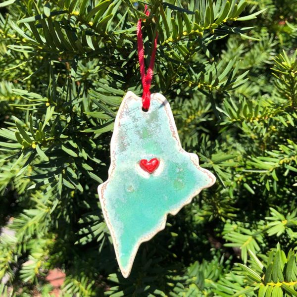 State of Maine Ornament - heart