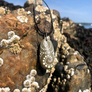White Wave Dot Beach Stone Necklace