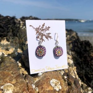 Pink & Purple Circle Dot Beach Stone Earrings