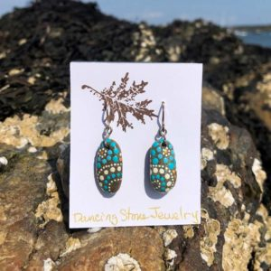 Teal, Gold & White Dot Beach Stone Earrings