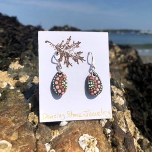 Pink, Salmon & Lime Dot Beach Stone Earrings