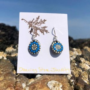 Blue & White Circle Dot Beach Stone Earrings