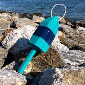 Large Glossy Teal & Navy Blue Lobster Buoy