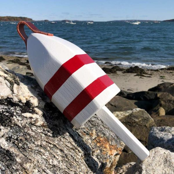 Small Glossy White with 2 Red Stripes Lobster Buoy with Leather