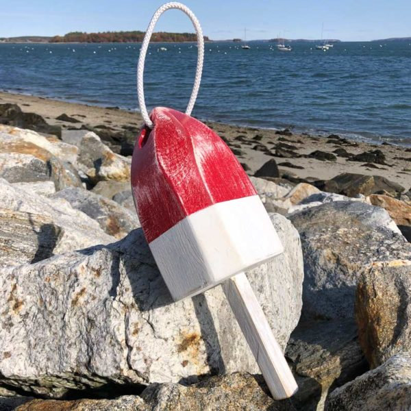 Small Distressed Red and White Lobster Buoy with Rope